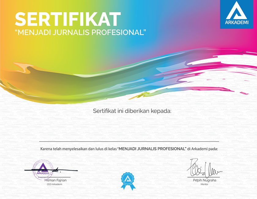 Template Sertifikat kelas menjadi jurnalis profesional 840