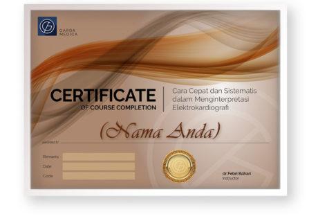 sertifikat kelas online arkademi Cara Cepat dan Sistematis dalam Menginterpretasi Elektrokardiografi bersertifikat garda medica front page 2