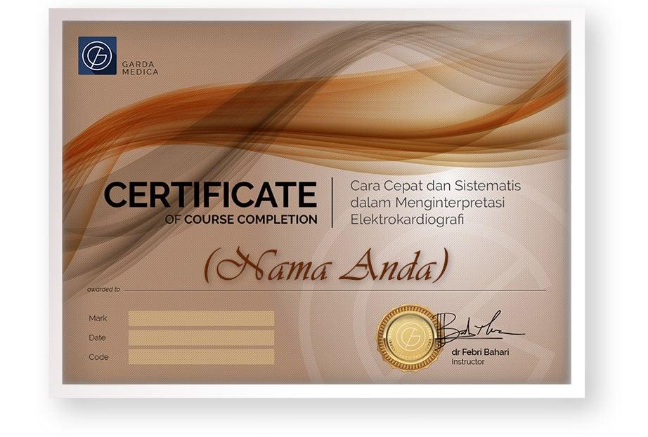 sertifikat kelas online arkademi Cara Cepat dan Sistematis dalam Menginterpretasi Elektrokardiografi bersertifikat garda medica front page - 3