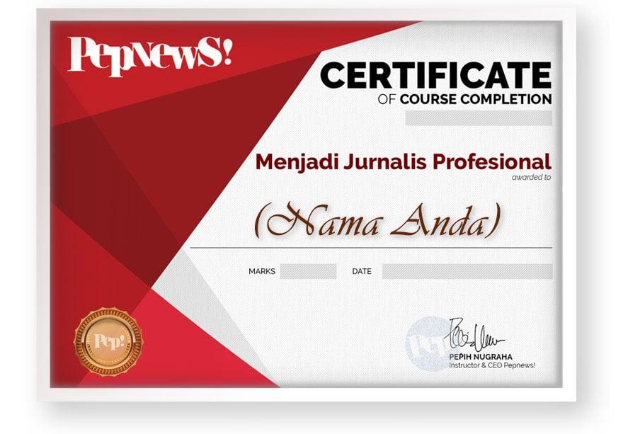 kursus jurnalistik online arkademi pepih nugraha pepnews SERTIFIKAT TEMPLATE FRAME FRONT