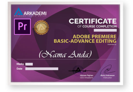arkademi kursus online adobe premiere pemula bersertifikat