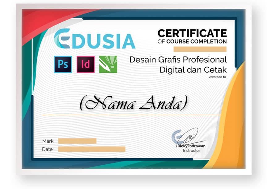 front sertifikat kursus online arkademi Desain Grafis Profesional Digital dan Cetak bersertifikat