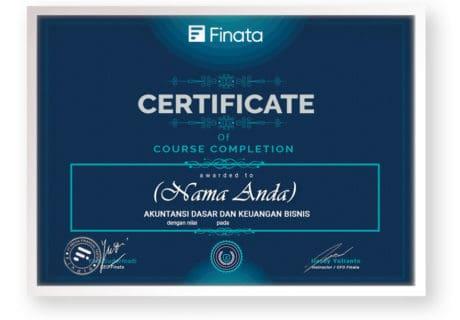 front-sertifikat kursus online arkademi bersertifikat Akuntansi Dasar dan Keuangan Bisnis FINATA