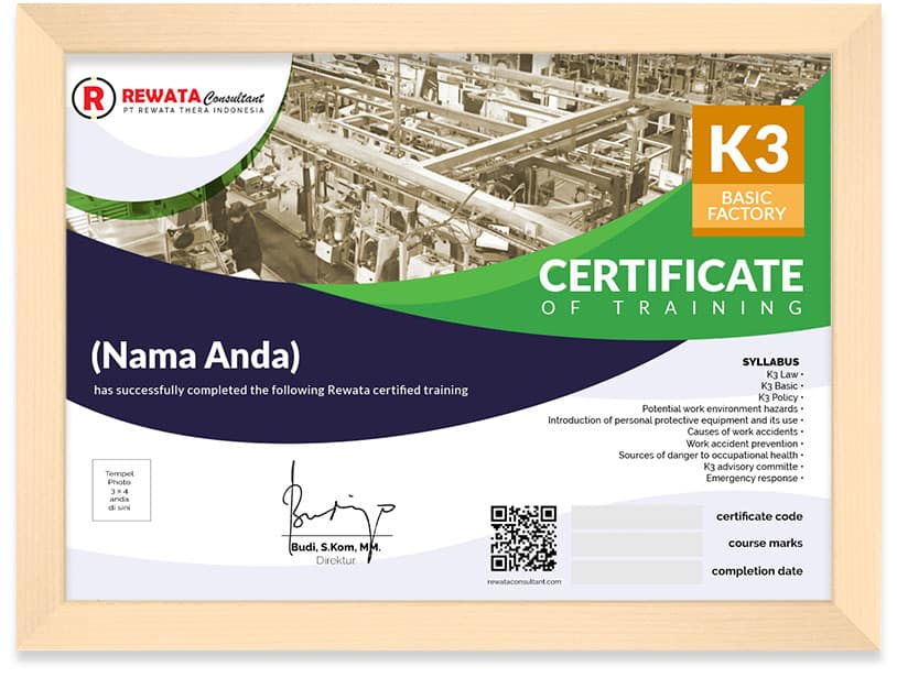 sertifikat kursus online arkademi bersertifikat keselamatan dan kesehatan kerja K3 basic factory rewata consultant