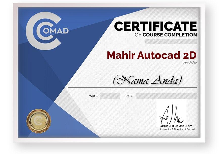 sertifikat mahir autocad 2d dalam 7 minggu arkademi comad-framed front