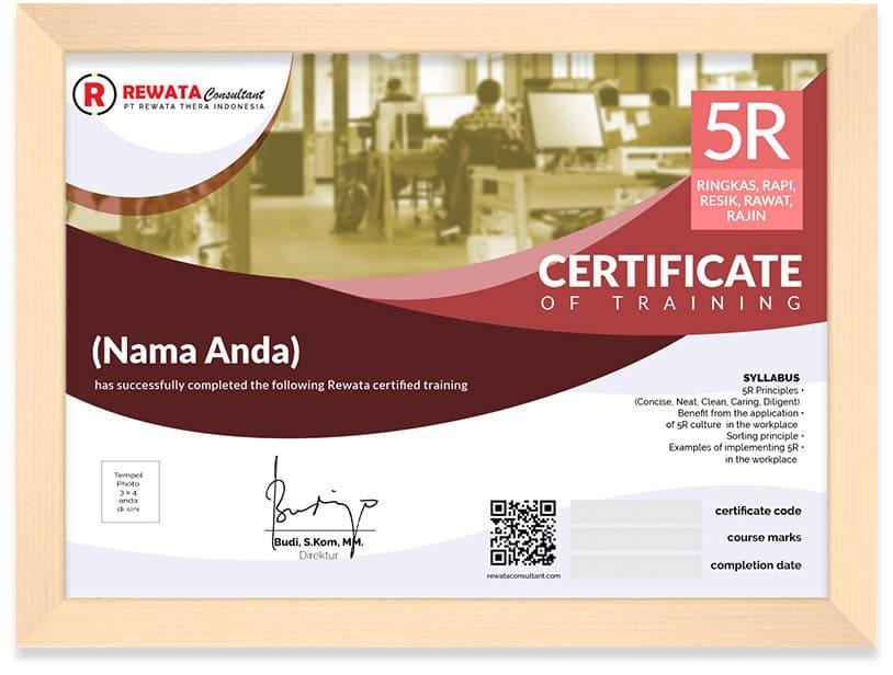 sertifikat 5R di tempat kerja kursus online bersertifikat arkademi rewata - framed