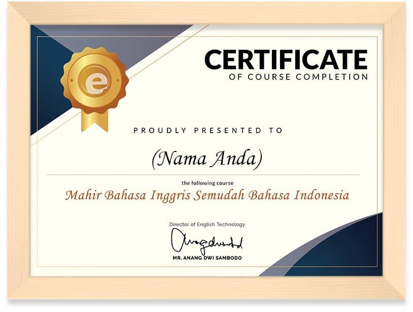 Sertifikat Arkademi Mahir Bahasa Inggris Semudah Bahasa Indonesia