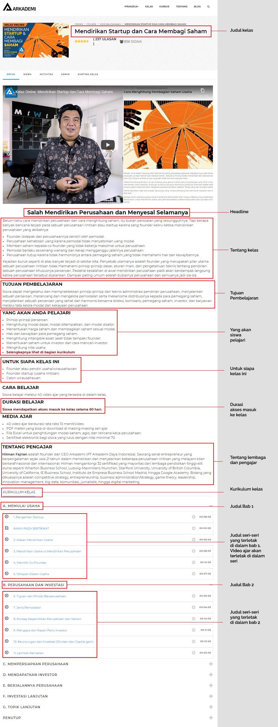 Struktur dan Desain Pembelajaran Kelas di Arkademi | Arkademi