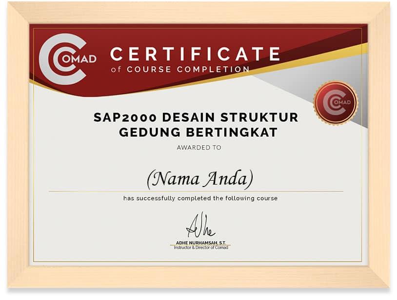 FRAMED SERTIFIKAT SAP 2000