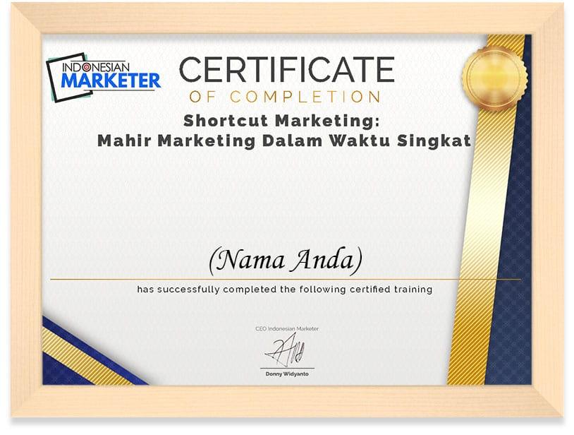 FRAMED CERT Shortcut Marketing Mahir Marketing Dalam Waktu Singkat
