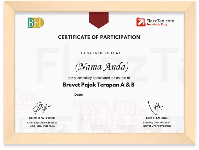 framed sertifikat baru brevet pajak 2020