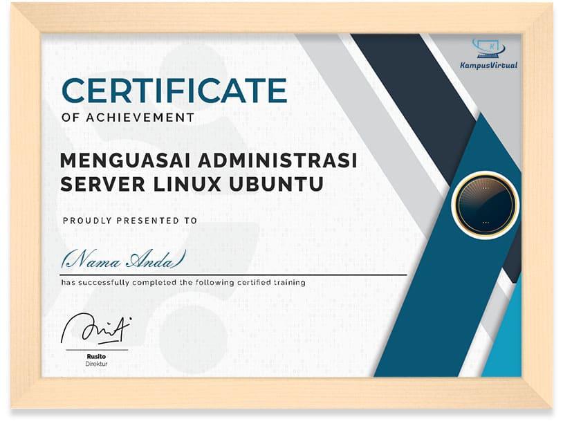 Framed Certificate Kampus Virtual (Linux)