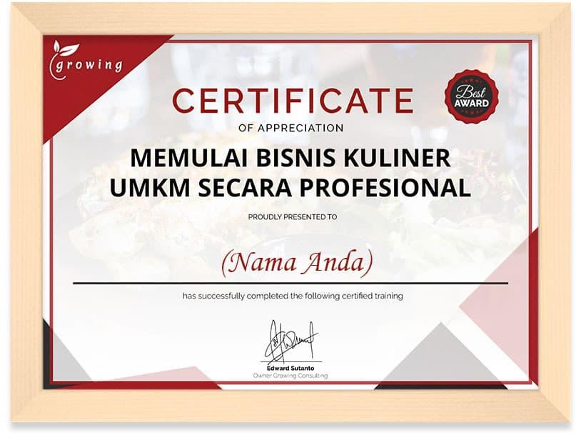 Certificate Bisnis Kuliner Frame