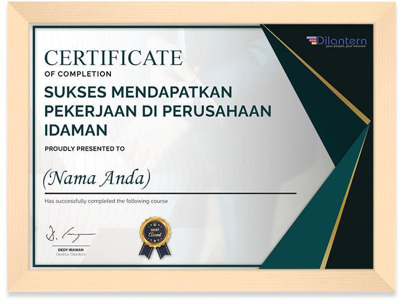 certificate_sukses_mendapat__pekerjaan_frame
