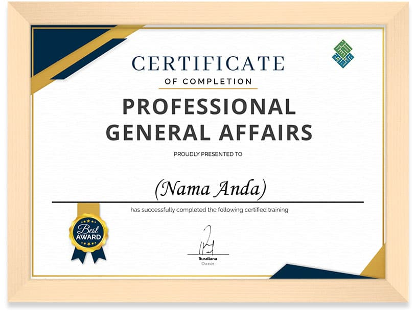 framed cert proffesional general affairs