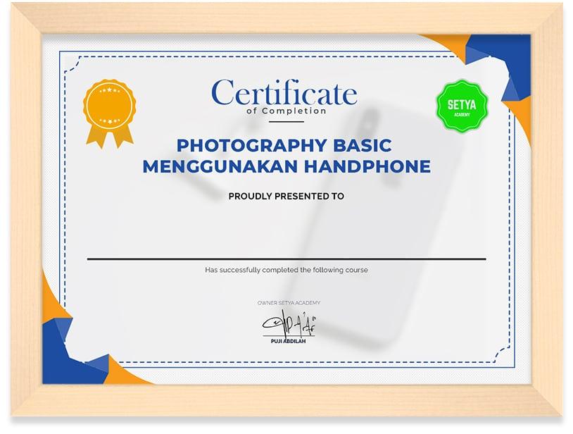 Arkademi Sertifikat_PHOTOGRAPHY_BASIC_MENGGUNAKAN_HANDPHONE_Frame