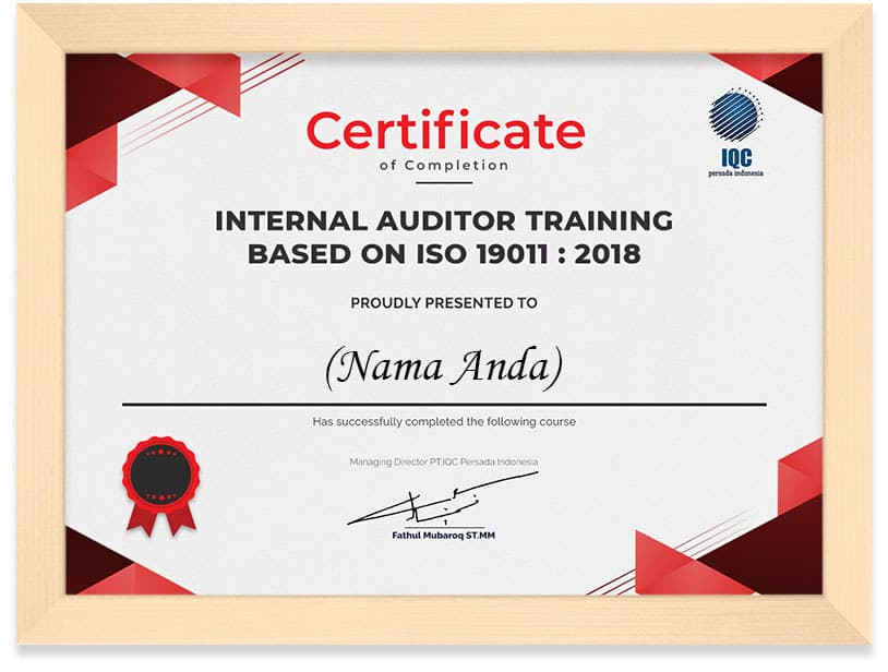 Arkademi Kursus Online - Sertifikat ISO 19011 Frame