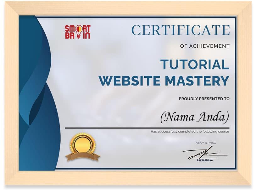 Arkademi Kursus Online - Sertifikat Tutorial Website Mastery Frame