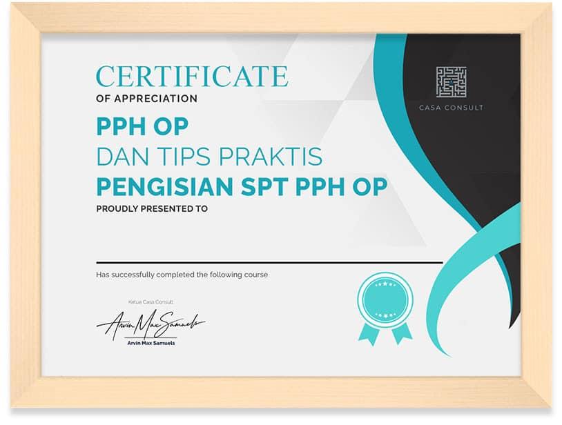 Arkademi Kursus Online - SertifikatPPh OP dan SPT PPh OP Frame