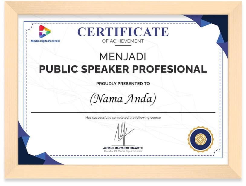 Arkademi Kursus Online - Sertifikat Menjadi Public Speaker Profesional Frame