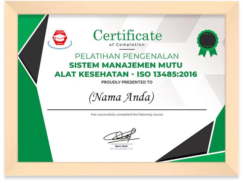 Arkademi Kursus Online -Sertifikat Awareness ISO 13485 ISQ Frame