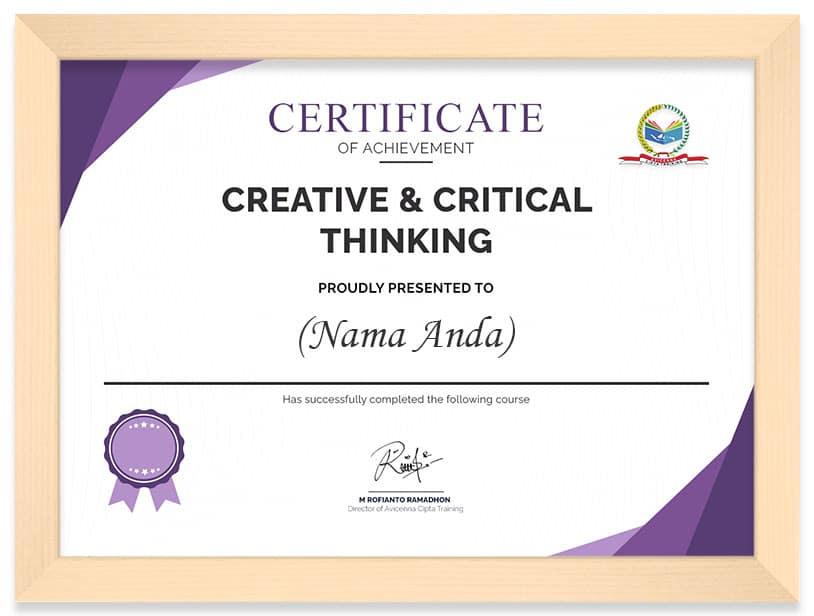 Arkademi Kursus Online - Sertifikat CREATIVE & CRICTICAL THINKING frame