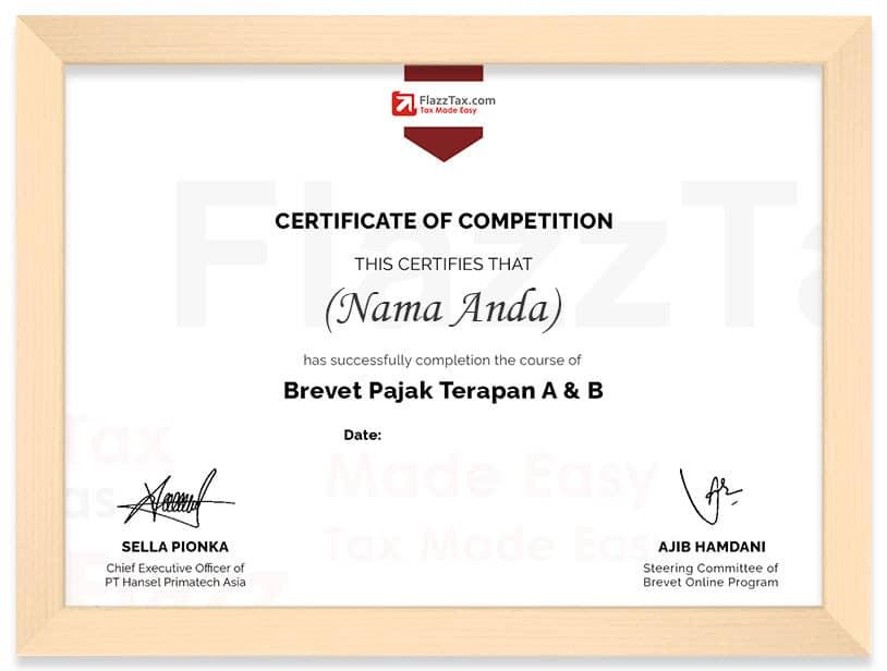 Arkademi Kursus Online FlazzTax Certificate (Frame)