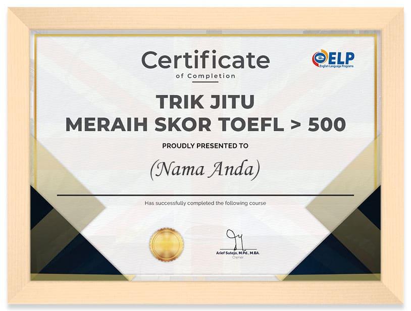 Arkademi Kursus Online - Sertifikat Toefl Panjang Certificate (Frame)