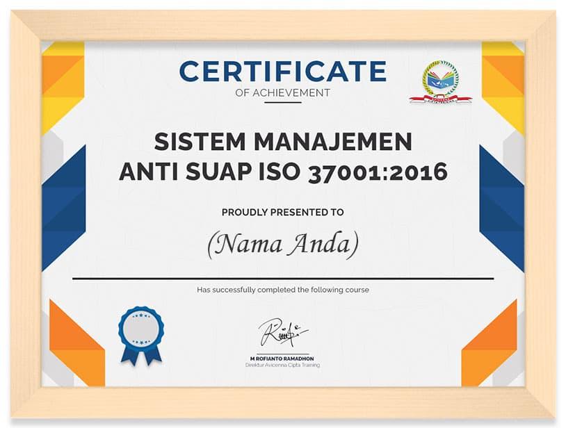Arkademi Kursus Online - Sertifikat Sistem manajmen Anti Suap ISO 3700 2016 (frame)