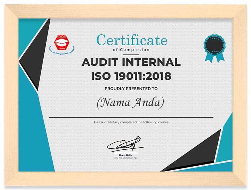 Arkademi Kursus Online - Sertifikat INTERNAL AUDITOR OF ISO 9001 2015 TRAINING (frame)