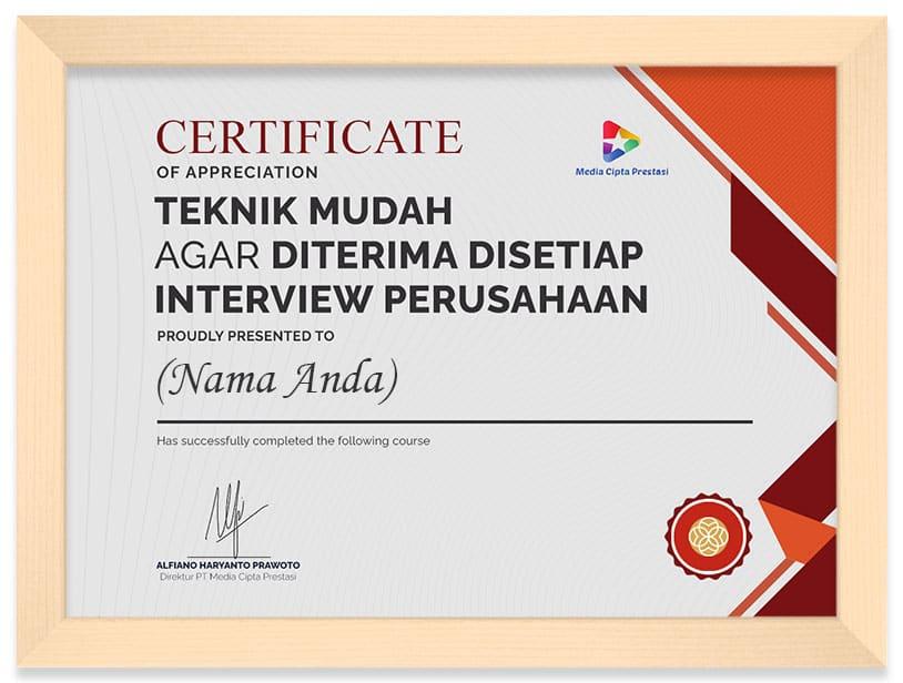 Arkademi Kursus Online - Sertifikat Teknik Mudah Agar Diterima di Setiap Interview Perusahaan Frame