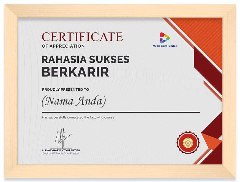 Arkademi Kursus Online - Sertifikat Rahasia Sukses Berkarir(Frame)