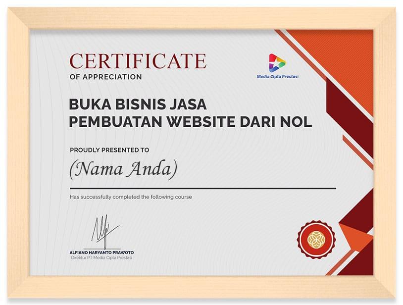 Arkademi Kursus Online - Sertifikat Buka Bisnis jasa pembuatan website dari Nol (Frame)
