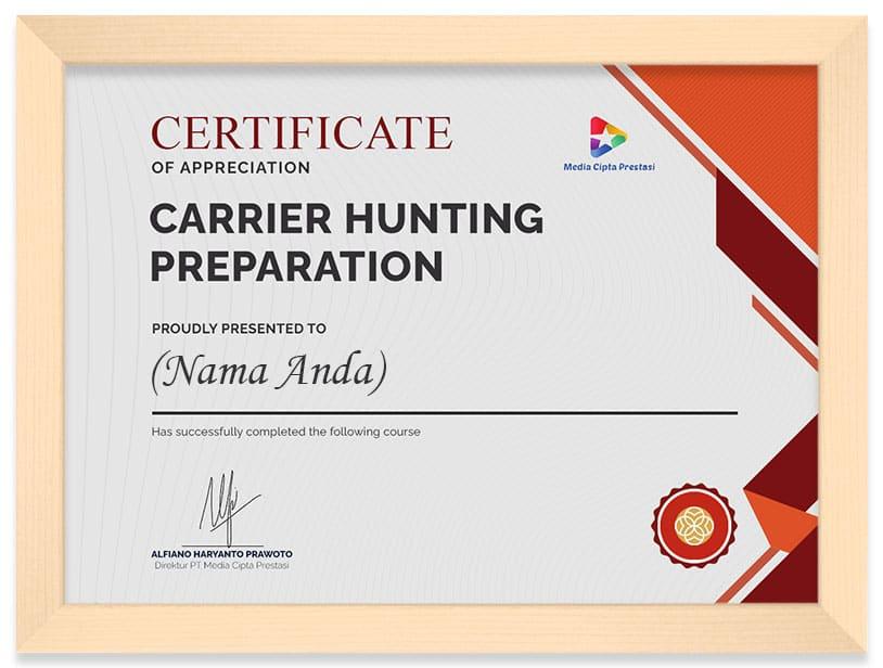 Arkademi Kursus Online - Sertifikat Carrier hunting preparation frame