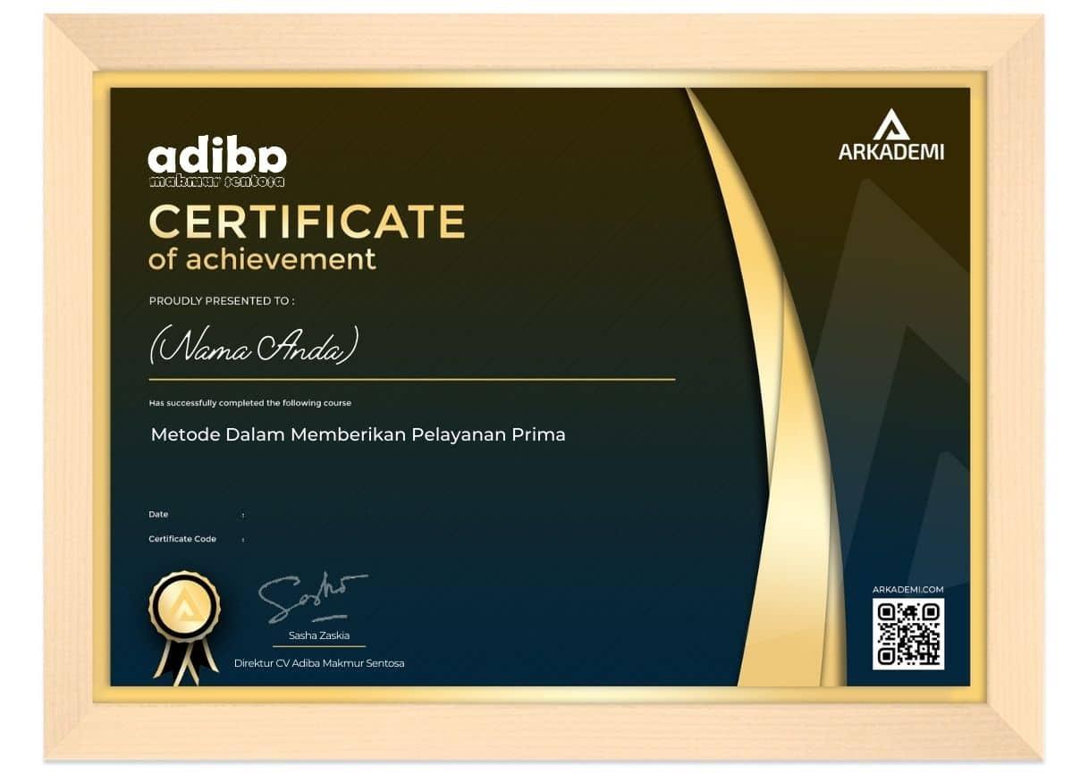 Arkademi Kursus Online - Sertifikat CV Adiba Makmur Sentosa Frame