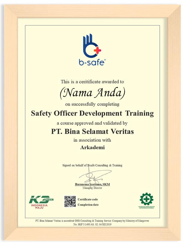 Arkademi Kursus Online - Sertifikat Safety Officer Development (Frame) rev