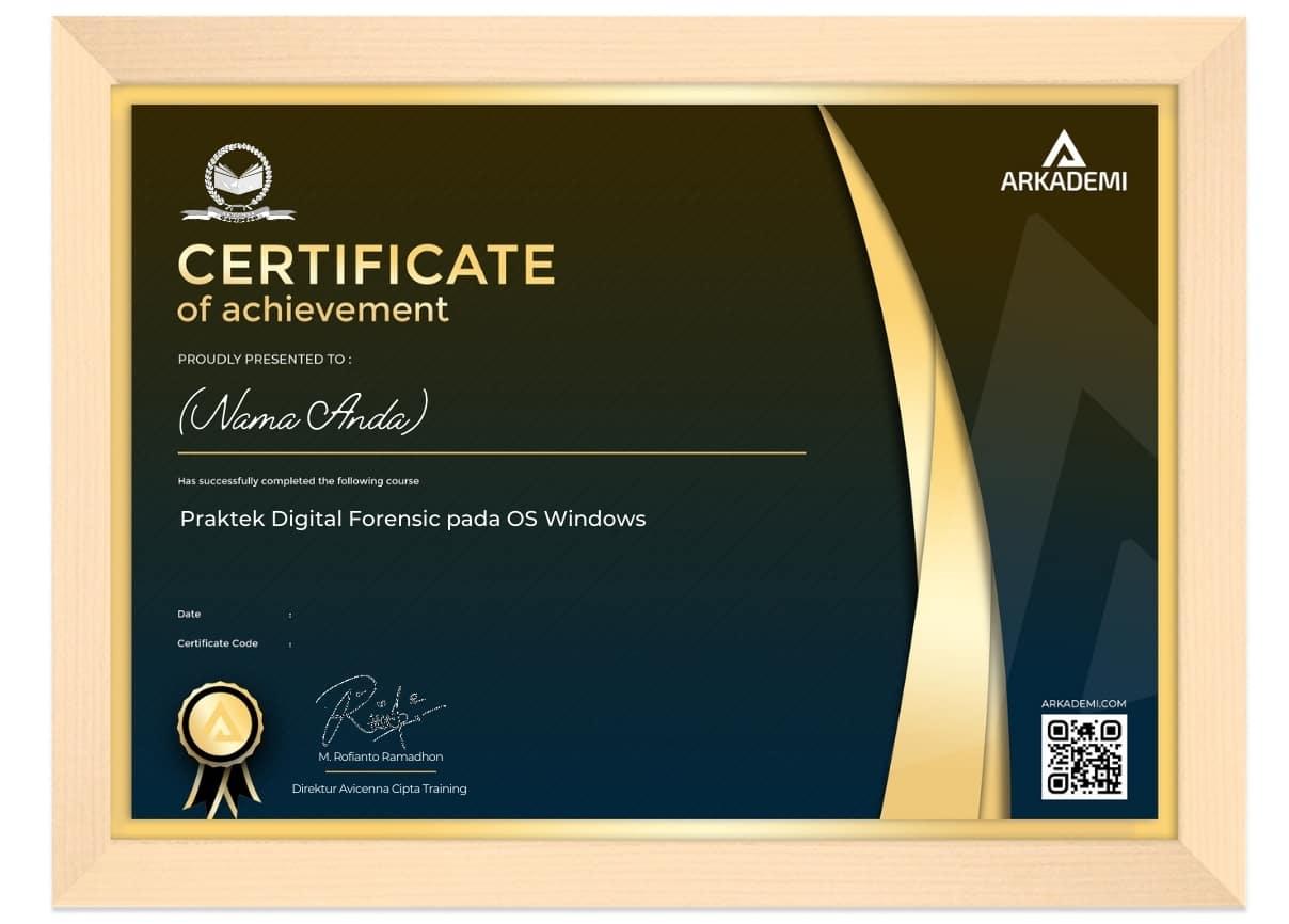 Arkademi Kursus Online - Sertifikat Praktek Digital Forensic pada OS Windows Frame