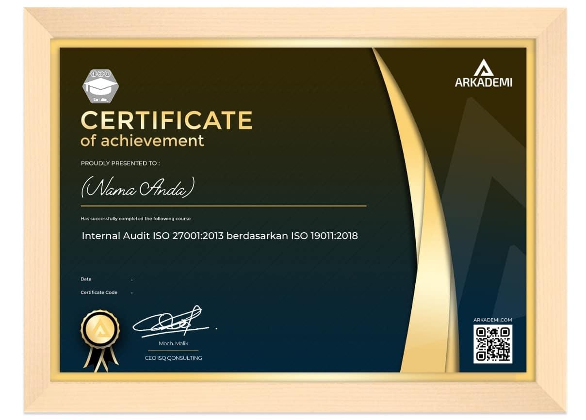 Arkademi Kursus Online - Sertifikat Internal Audit ISO 27001 2013 berdasarkan ISO 19011 2018 Frame