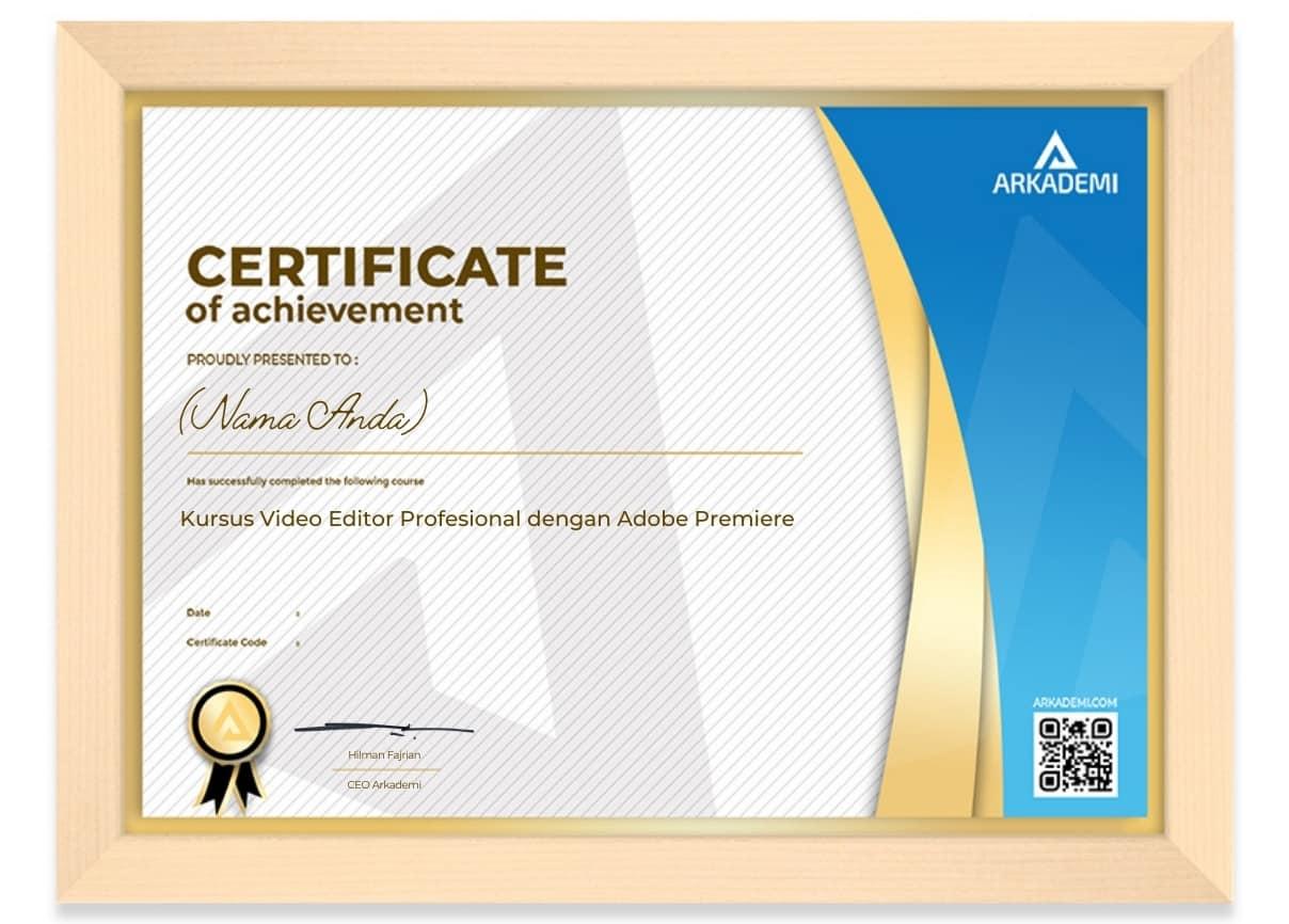 Arkademi Kursus Online - Sertifikat Kursus Video Editor Profesional dengan Adobe Premiere Frame