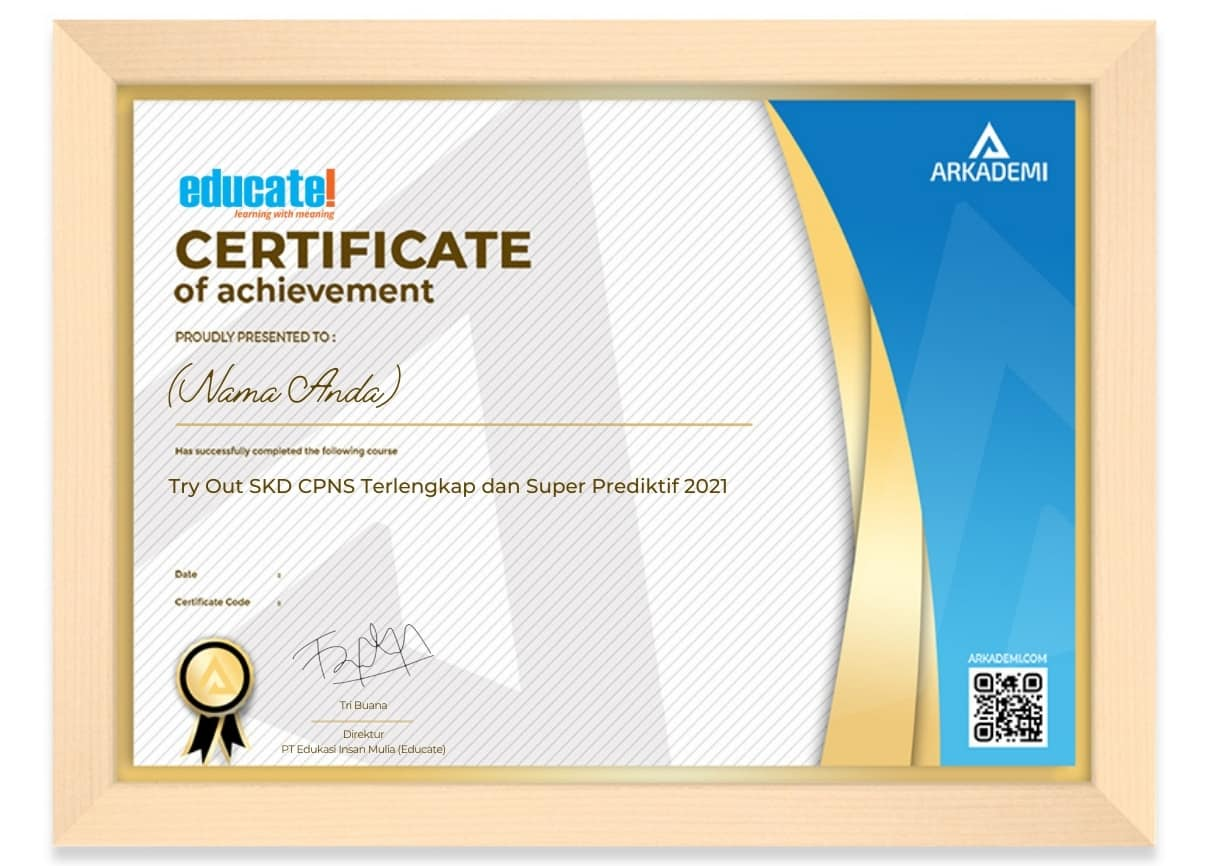 Arkademi Kursus Online - Sertifikat Try Out SKD CPNS Terlengkap dan Super Prediktif 2021 Frame (W