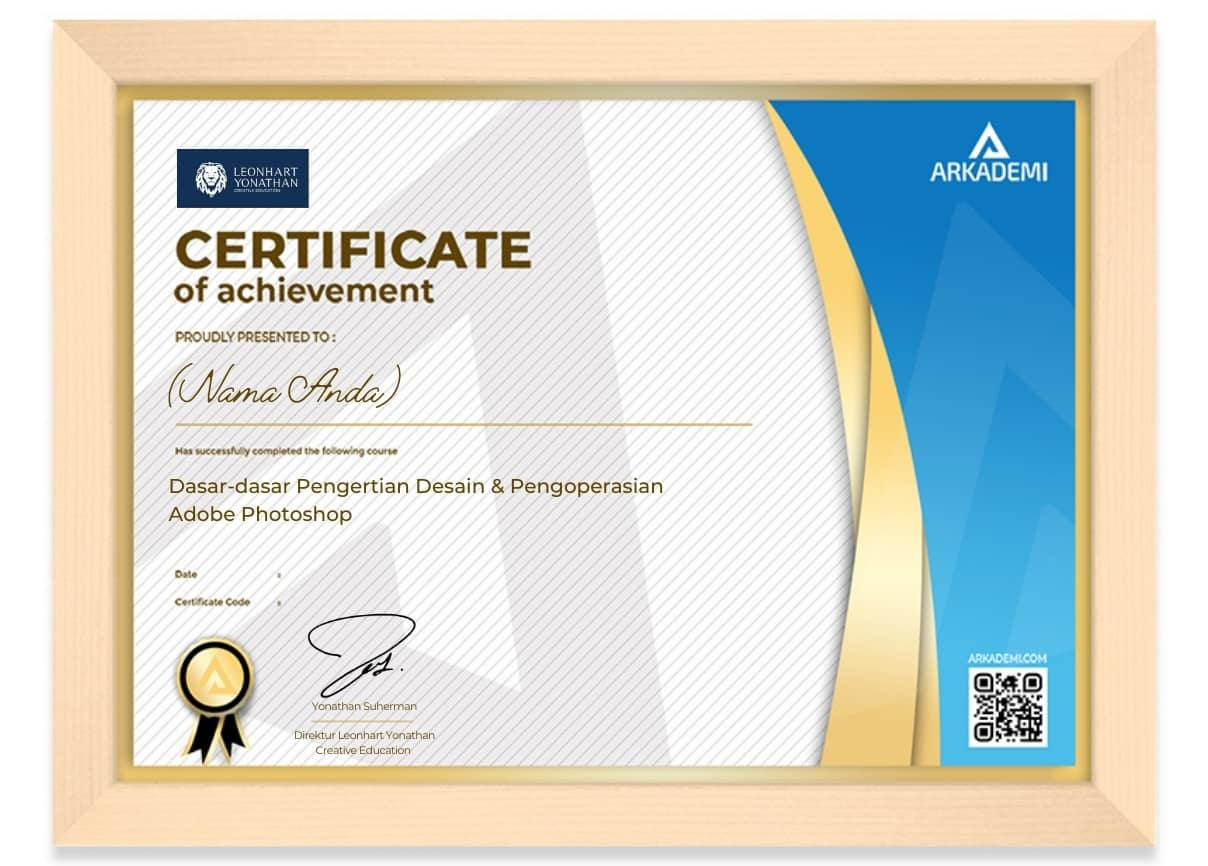 Arkademi Kursus Online - Sertifikat Dasar-dasar Pengertian Desain & Pengoperasian Adobe Photoshop Frame