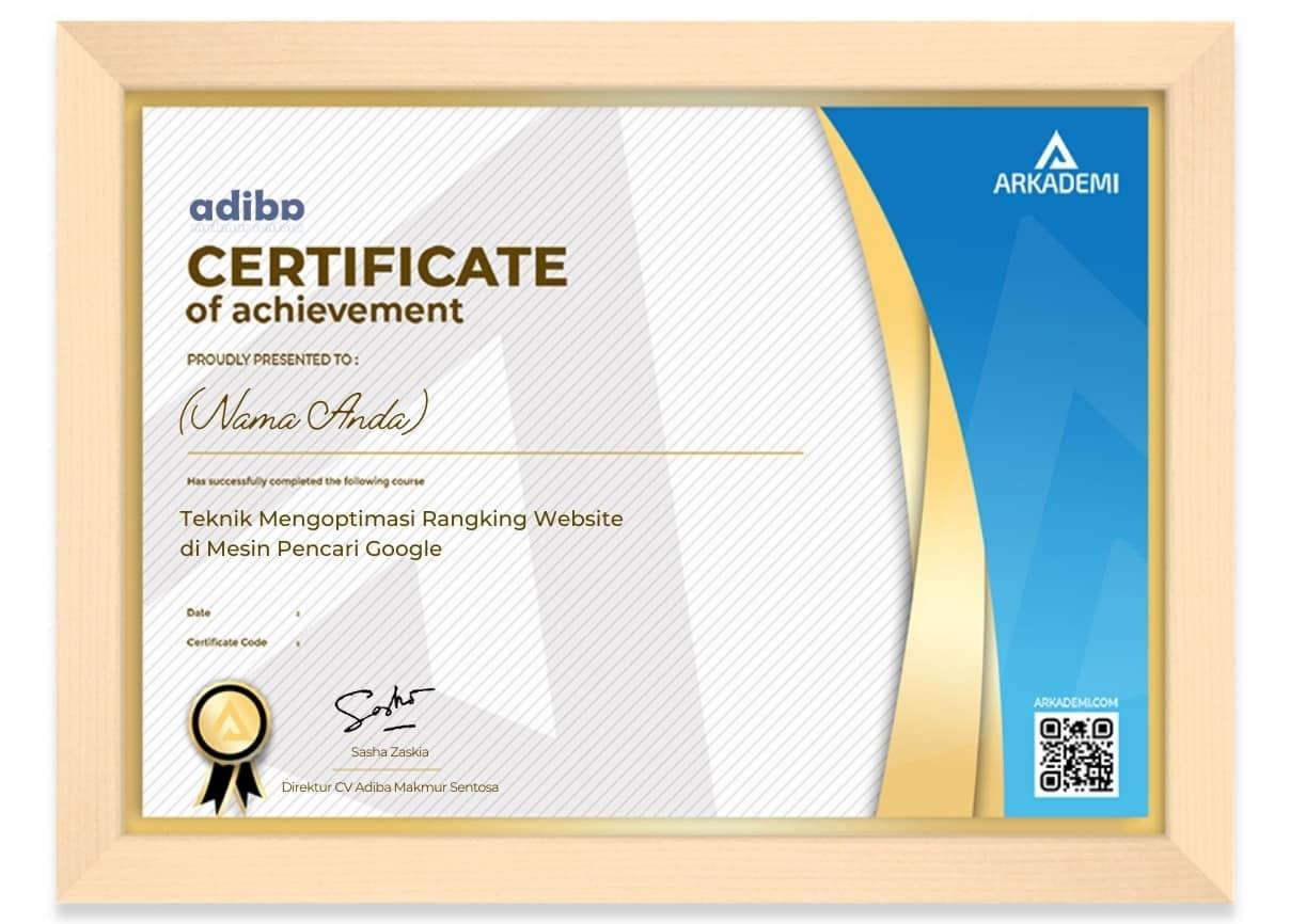Arkademi Kursus Online - Sertifikat Teknik Mengoptimasi Rangking Website di Mesin Pencari Google Frame