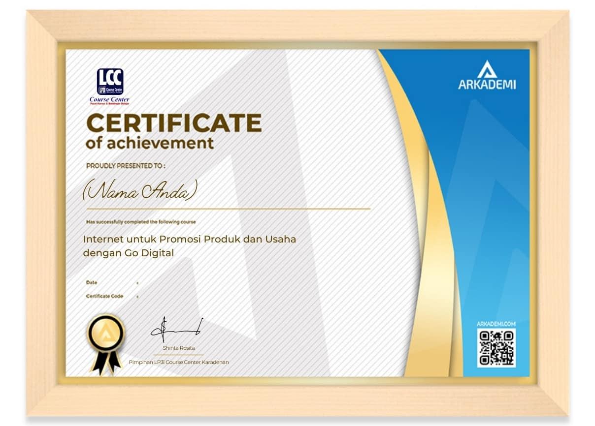 Arkademi Kursus Online - Sertifikat Internet untuk Promosi Produk dan Usaha dengan Go Digital Frame Rev
