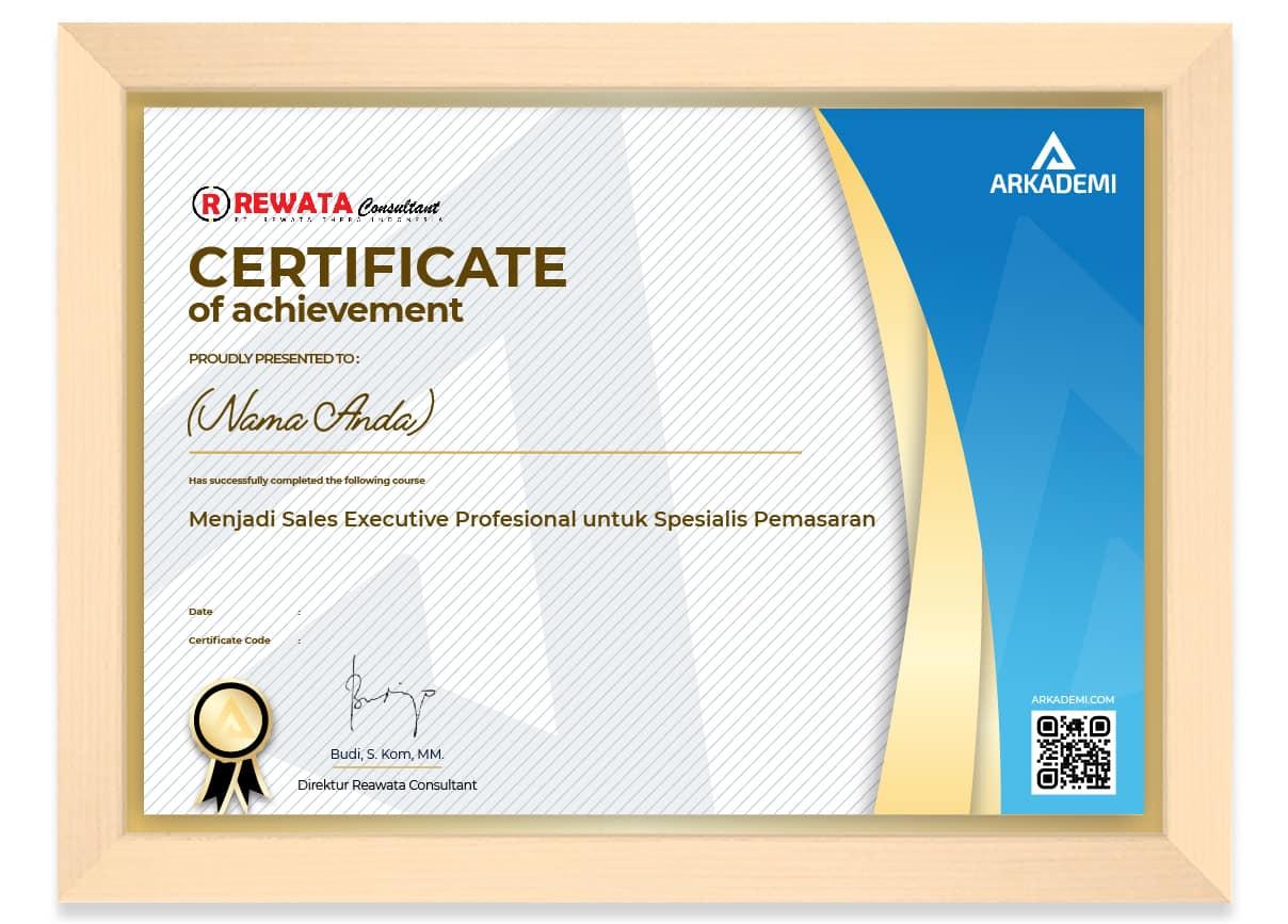 SERTIFIKAT - Rewata Consultant Menjadi Sales Executive Profesional untuk Spesialis Pemasaran_FRAME
