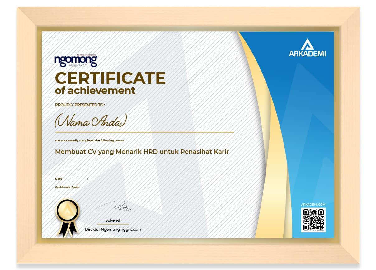 SERTIFIKAT - Ngomongingggris.com Membuat CV yang Menarik HRD untuk Penasihat Karir_FRAME