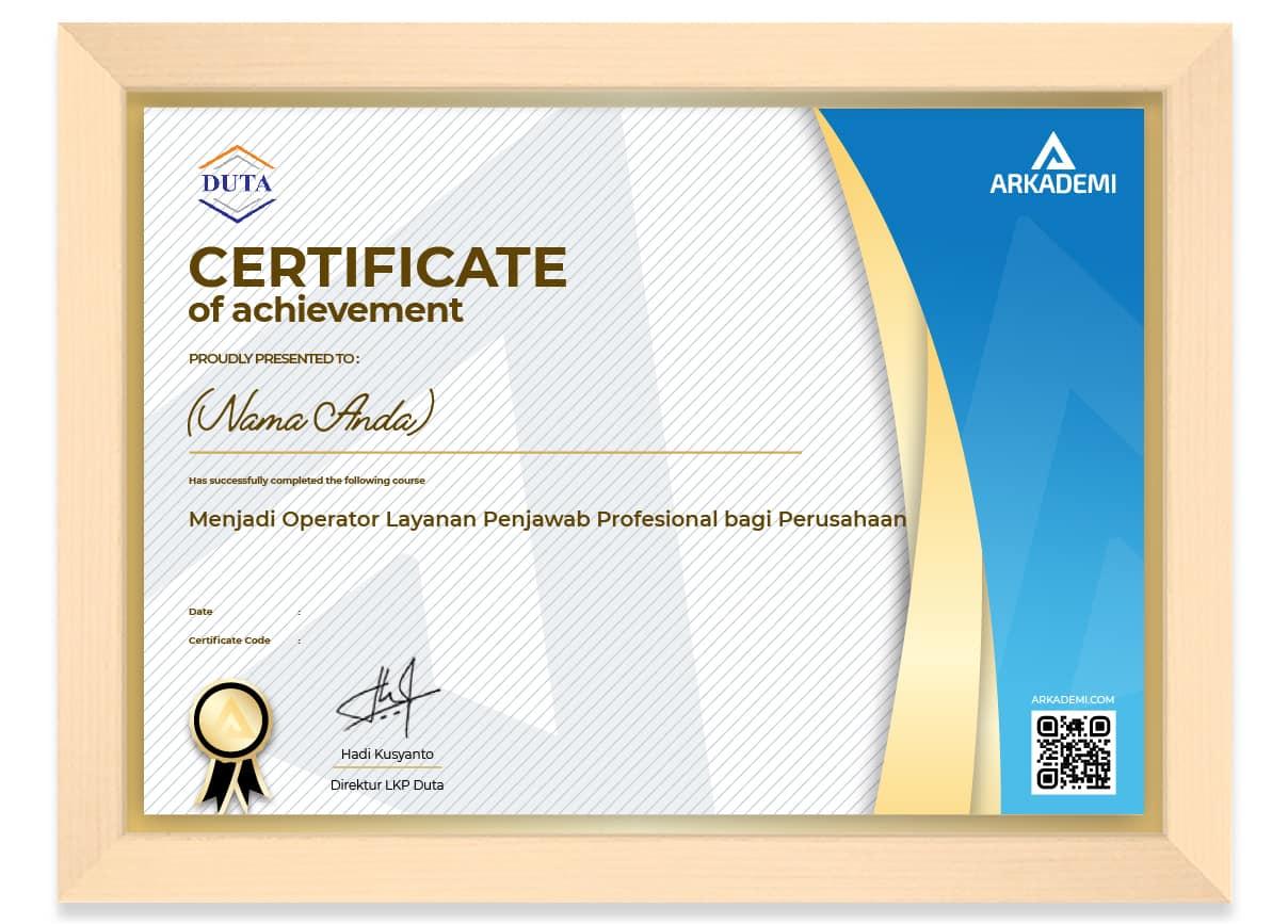 SERTIFIKAT - LKP Duta Menjadi Operator Layanan Penjawab Profesional bagi Perusahaan_FRAME