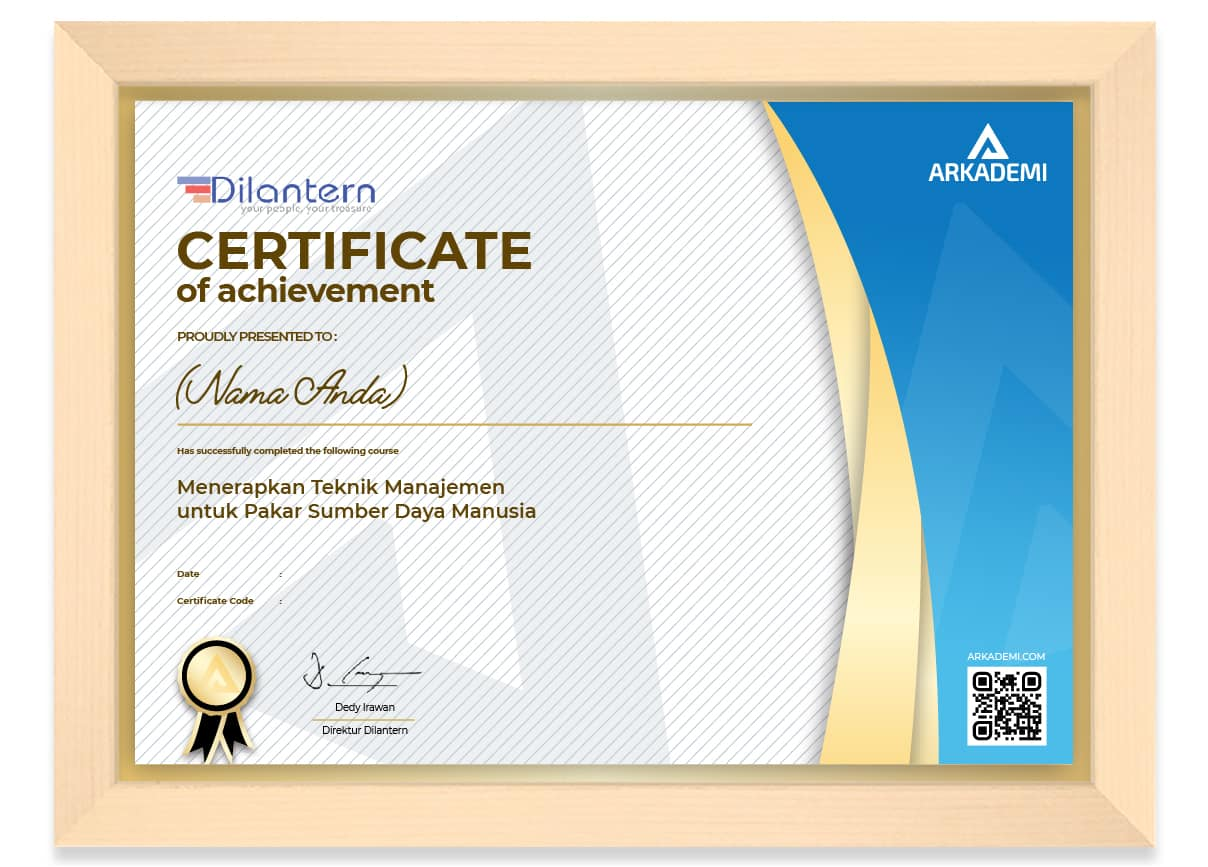 SERTIFIKAT - Dilantern Menerapkan Teknik Manajemen untuk Pakar Sumber Daya Manusia_FRAME