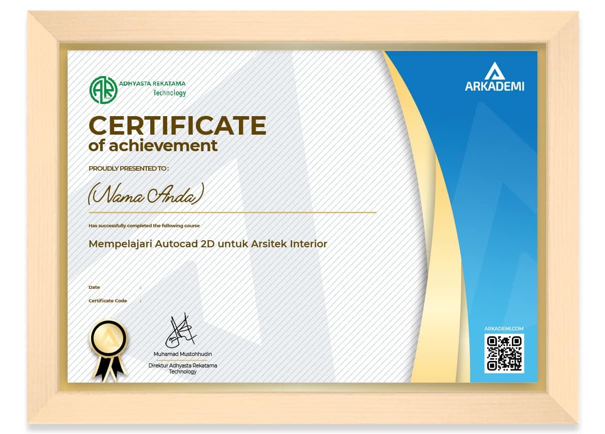 SERTIFIKAT - Adhyasta rekatama technology Mempelajari Autocad 2D untuk Arsitek Interior_FRAME
