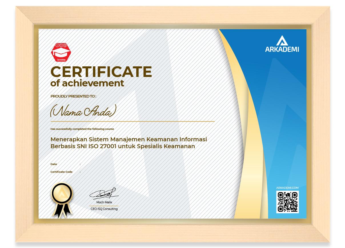 SERTIFIKAT - ISQ Consulting Menerapkan Sistem Manajemen Keamanan Informasi Berbasis SNI ISO 27001