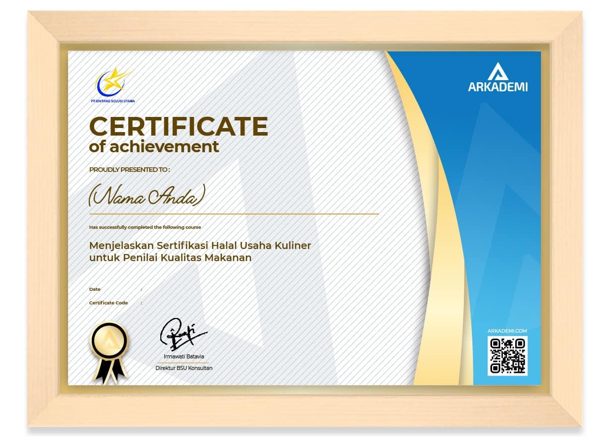 SERTIFIKAT - BSU Konsultan Kursus Sertifikasi Halal Usaha Kuliner untuk Penilai Kualitas Makanan_FRAME